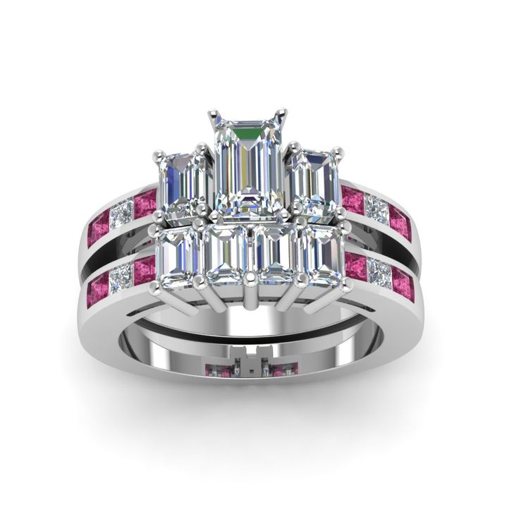 Emerald Channel Set 3 Stone Diamond Wedding Ring Sets With Pink Sapphire In  14K White Gold