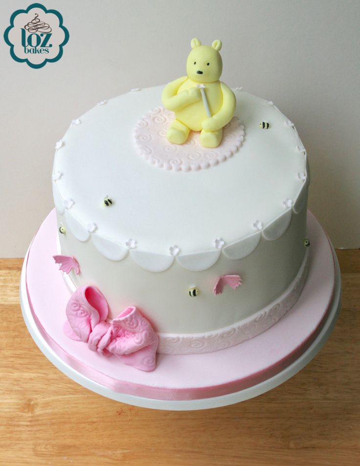 Adorable Winnie The Pooh baby shower cake