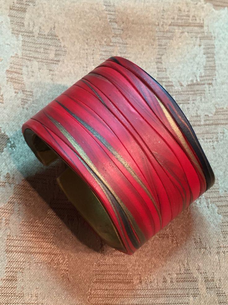 Polymer clay cuff by Linda Brooks