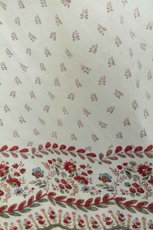 Detail, roller printed Regency day gown.