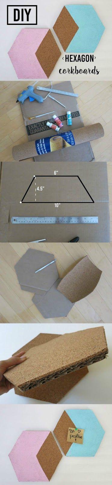 Vibrant Vantage: DIY Hexagon Corkboards/Bulletin Boards