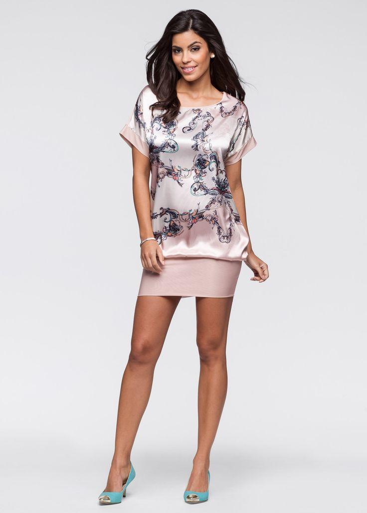 Vestido de cetim e malha rosa encomendar agora na loja on-line bonprix.com.br  R$ 59,90 a partir de Vestido de malha com estampa alegre na frente, ...