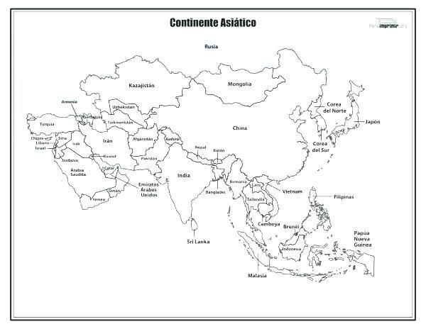 Resultado De Imagen Para Mapa De Asia Para Colorear Mapa De Asia Mapamundi Para Imprimir Mapas
