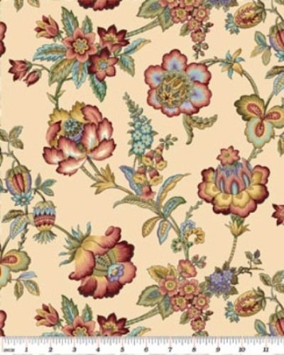 Left Bank Jacobean Floral Cream Benartex $5 00 PR 1 2 Yd | eBay