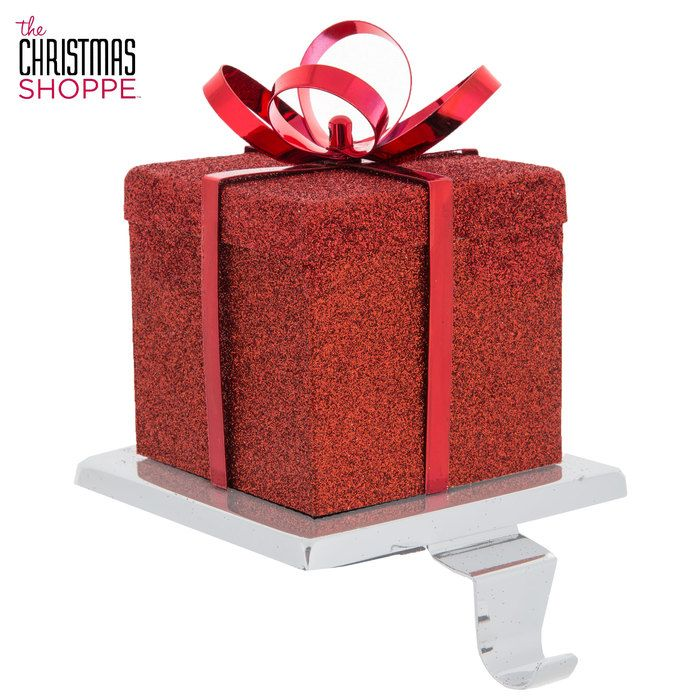 Gift Box Metal Stocking Holder Glitter Gifts Red Gift Box