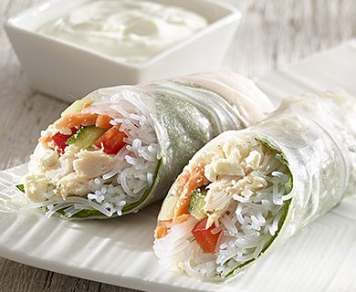 Fresh Spring Rolls with Feta and Chicken #appetizer