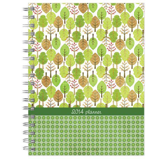 2014 planner POCKET size, green trees pattern weekly monthly calendar agenda daytimer calendar year on Etsy, $9.99 CAD