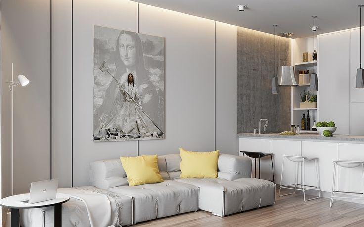 Grey and yellow minimalist area faded Mona Lisa art bright yellow pop cushions