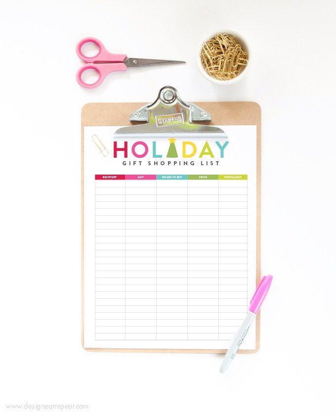 この無料のホリデーギフトの買い物リストをDesign Eat Repeatからダウンロードして、あなたがあなたのリストにいるすべての人を整理するのを手伝ってください!