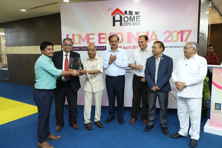 The Ajai Shankar Memorial Silver Award in Furniture & Accessories category given to M/s Indian Artware, Jodphur. MR. Sunit Jain received the award. - at Home Expo India, 2017