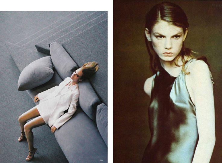 1997 Амбер Валетта, фото Стивена Майзела, май 1997 года;  и Анжела Линдвалл, фото Паоло Роверси для итальянского Vogue