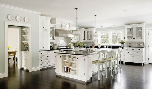 Love white Kitchens...Amazing!: Dreams Kitchens, Kitchens Design, White Kitchens Cabinets, Kitchens Ideas, Dark Wood, Islands, Dark Countertops, White Cabinets, Black Counter