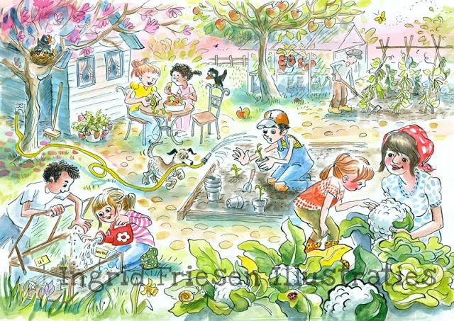 In de tuin, praatplaat