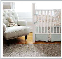 Beautiful taupe and baby blue nursery bedding set custom made by grandmother. To say that I am knocked out by this baby boy's adorable blue and taupe nursery is an understatement. From the faux table that Jane scored at Goodwill