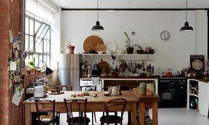 Made in London: the converted studio space which now serves as kitchen and dining room.