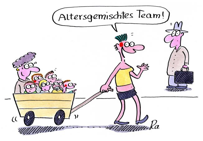 Kindergarten_KiGaPortal_Cartoon_Renate Alf_Altersgemischtes Team