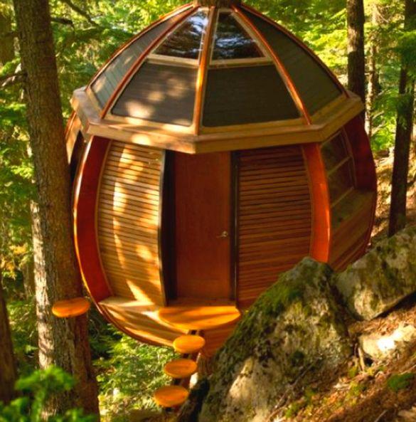 Interesting tree house design!  #treehouses  #treehousedesigns homechanneltv.com