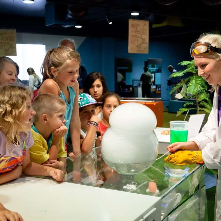 Questacon Assistant creates a smoke bubble with dry ice
