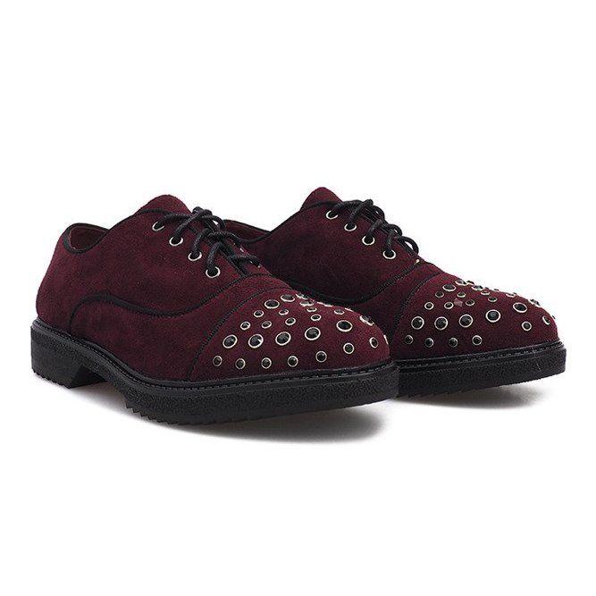 Bordowe Polbuty Z Cwiekami Raymonde Czerwone Burgundy Shoes Shoes Dress Shoes Men