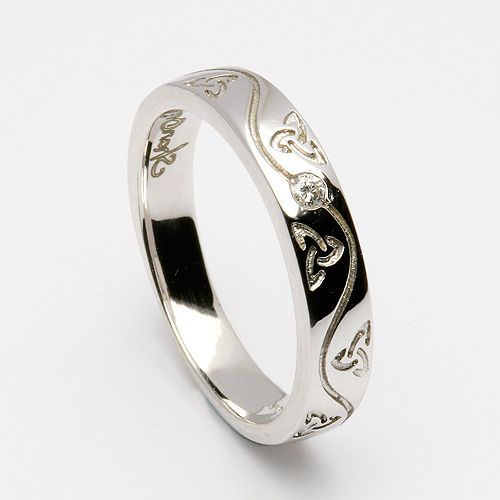 "Etain Trinity Spiral Inset Ring (C-845) Birthstones instead of Diamond- Celtic Wedding Rings. Engraved with ""Together, or not at all."""
