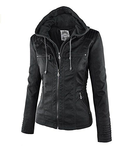 New Trending Outerwear: Newbestyle Women Spring and Autumn Hooded Faux Leather Jacket Hat Detachable Zipper jacket Women Motorcyle Jacket. Newbestyle Women Spring and Autumn Hooded Faux Leather Jacket Hat Detachable Zipper jacket Women Motorcyle Jacket   Special Offer: $37.77      344 Reviews Size Chart:S:Bust 36inch ,Shoulder Width 15.5inch ,Sleeve 25.5inch,Length 25inch M: Bust 38inch ,Shoulder Width 16inch ,Sleeve...