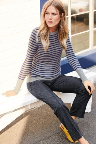 Buy Grey/Blue Stripe Cable Crew Sweater from the Next UK online shop