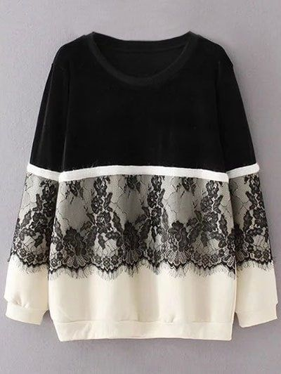 Fleece Lined Lace Panel Sweatshirt - BLACK XL