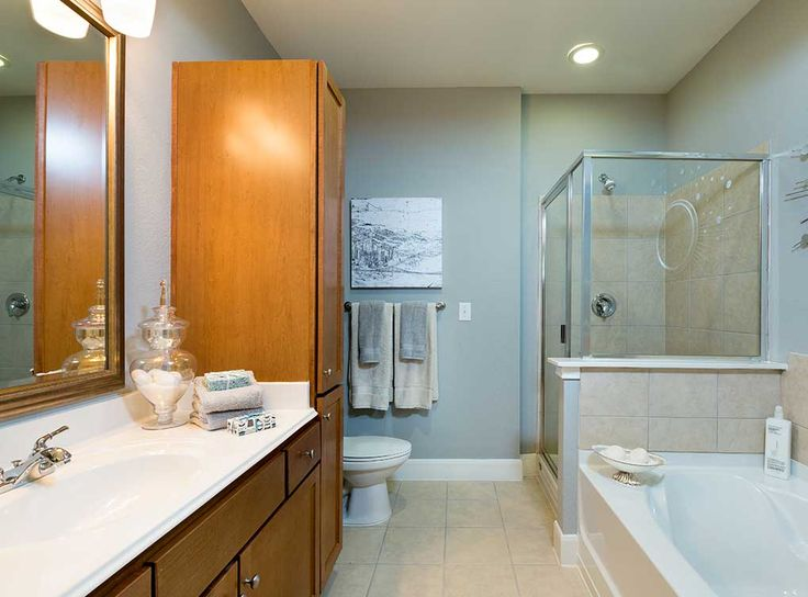 Oversized master bathrooms with separate garden tubs and ...