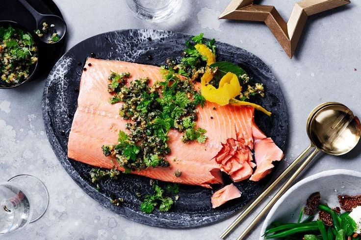 Confit salmon with lemon and parsley salsa