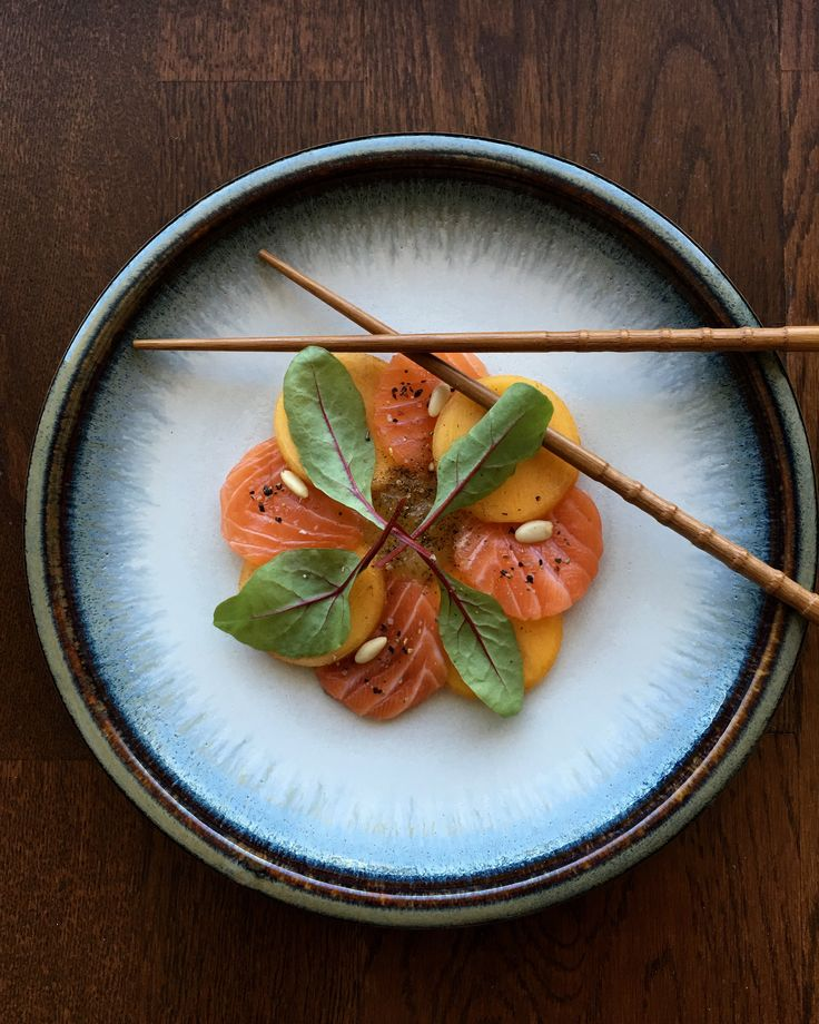 Rum Cured Salmon Compressed Persimmon Ginger and Chili Marmalade