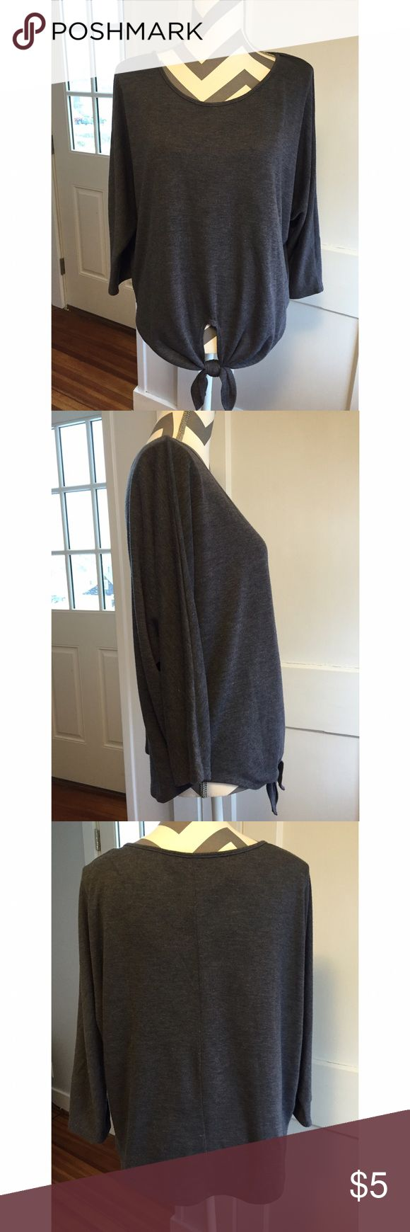 Grey shrug sweater Grey tie in front shrug sweater, tag cut out Sweaters