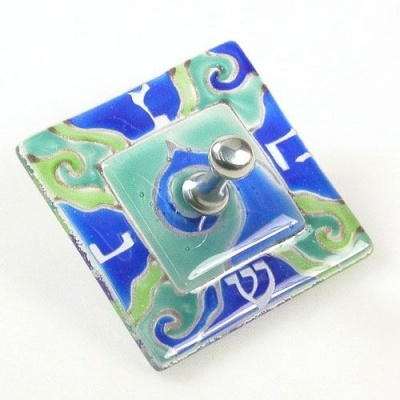 """Fused Glass Hanukkah Dreidel  A Fusion Of Shades Of Blue And Green Glass Come Together To Create This Delightful Hanukkah Dreidel. A Super Hanukkah Gift For A Dreidel Collector. The Hanukkah Dreidel Is 2 1/4""""."""