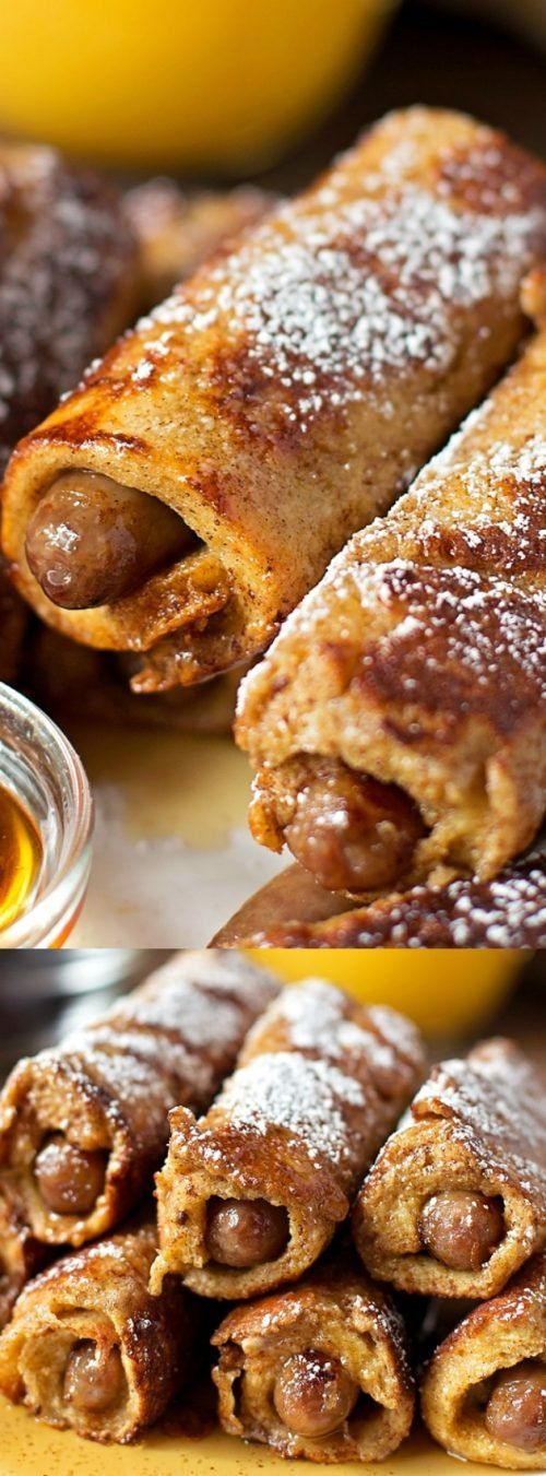 These Sausage Stuffed French Toast Roll Ups from Life Made Simple are perfect for breakfast or brunch! They're drizzled with maple syrup and dusted with powdered sugar