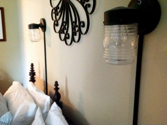The 25 best plug in wall sconce ideas on pinterest hard crafts plugin wall sconce with glass jar black by hopevalleyhill on etsy 3500 mozeypictures Gallery