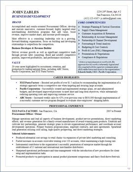Business Development/Procurement Senior Manager Resume page 1