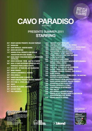 Cavo Paradiso line-up 2011