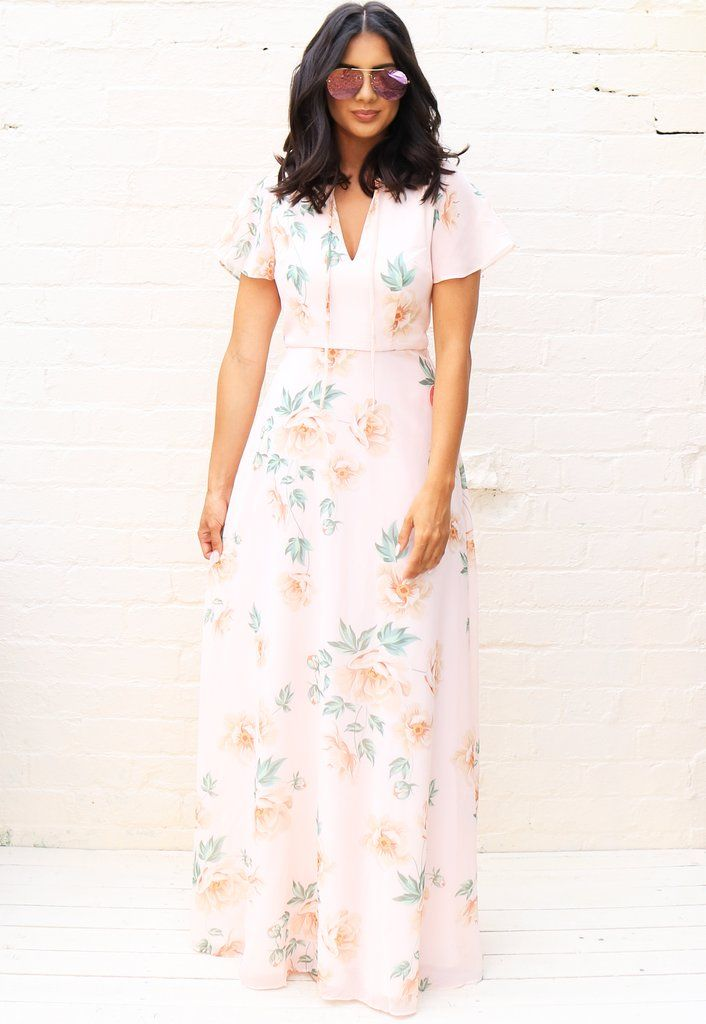 81b3cedf05 CHI CHI LONDON Jessamine Floral Maxi Dress with Angel Sleeve in Nude - One  Nation Clothing