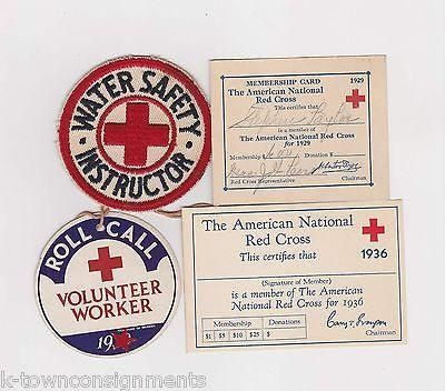 AMERICAN RED CROSS VINTAGE 1930s CARDS, PATCH & AMBULANCE ADVERTISING DECAL LOT