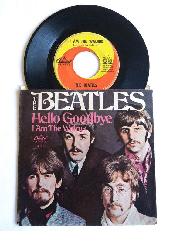 1960's Beatles 45 Record with Sleeve Hello Goodbye and I