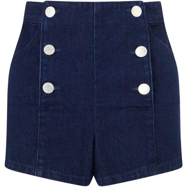 Miss Selfridge Petite Sailor Shorts, Indigo (£18) ❤ liked on Polyvore featuring shorts, bottoms, pants, petite, sailor shorts, petite shorts, nautical shorts and miss selfridge