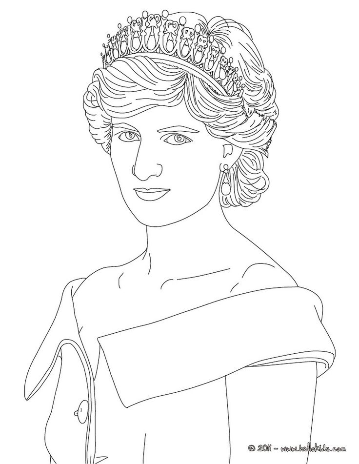Princess Queen Coloring Pages : Royal king and queen coloring pages princess diana of