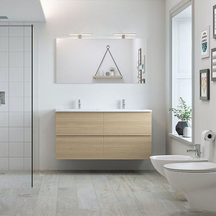 Rak Joy Scandinavian Oak Wall Hung Double Basin Vanity Unit
