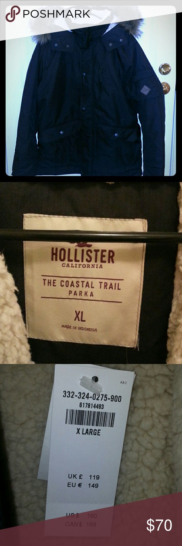 Hollister men parka NWT Black men parka from hollister. Brand new never been worn. Size XL.  Sherpa lined for warmth. Hollister Jackets & Coats