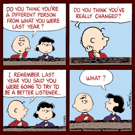 Reflecting with Charlie Brown and Lucy.