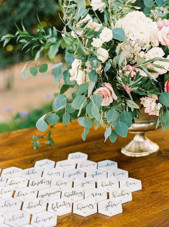 Geometric, Hexagon, White Marble Tile Escort Cards with Handwritten, Gold Calligraphy