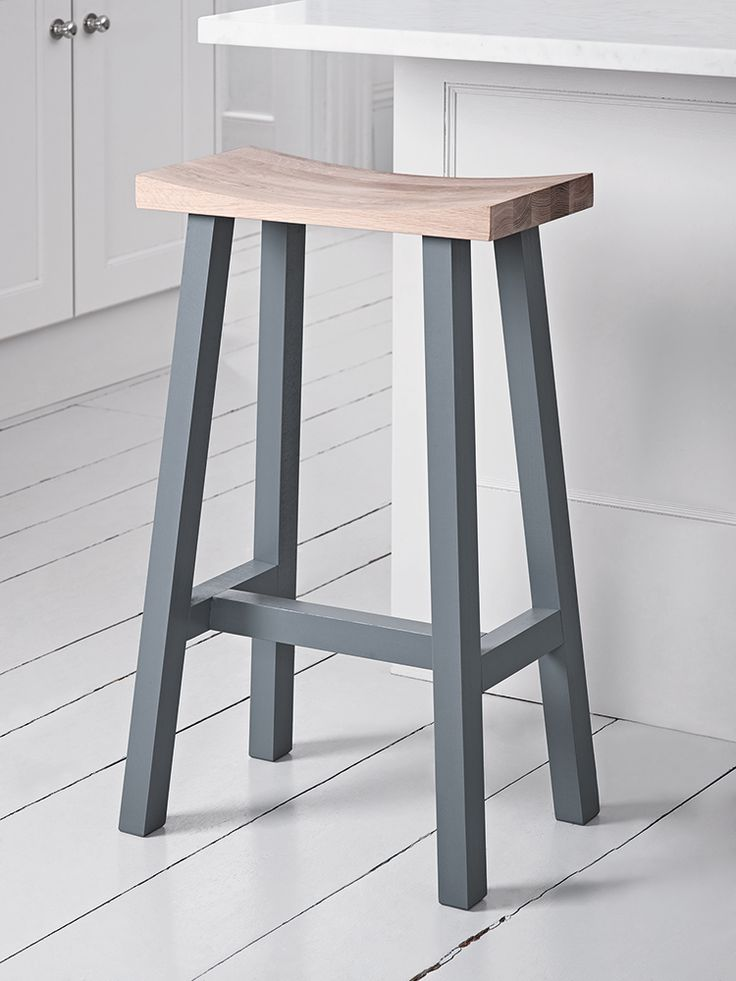 NEW Curved Top Oak Stool - Charcoal