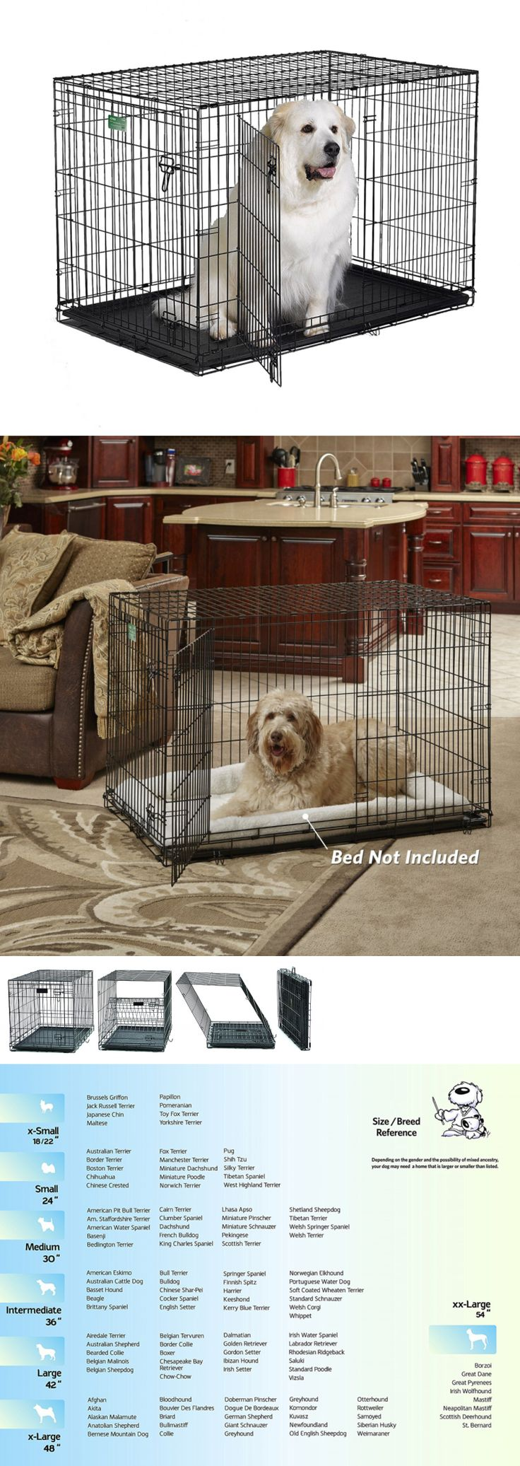 Cages and Crates 121851: Midwest Crate Double-Door Training Travel Life Stages 48X30x33 Pet Dog Kennel BUY IT NOW ONLY: $63.43
