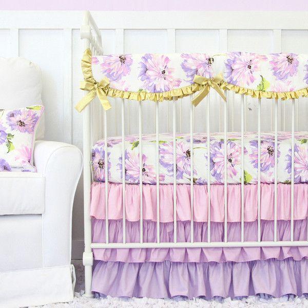 Petunia Ruffle Baby Bedding | Purple Crib Bedding Set