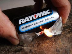 How to Start a Fire With a Gum Wrapper and Battery - You can also use a battery and steel wool. As with any emergency fire source, make sure you can do it BEFORE you need to.