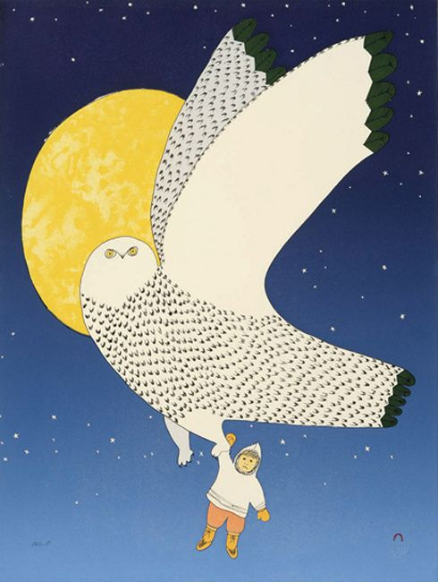The Owl and the Boy, by Ningeokuluk Teevee (Inuit Artist), 2008 -- Lithograph